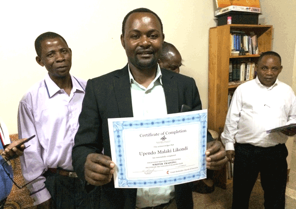 Writing Workshop participant with course completion certificate