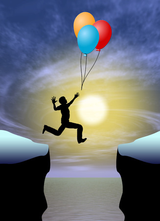 figure reaching for balloons over a canyon