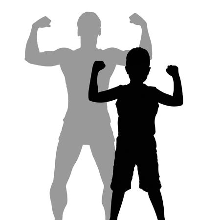 silhouette drawing of a child showing off biceps with larger, stronger shadow