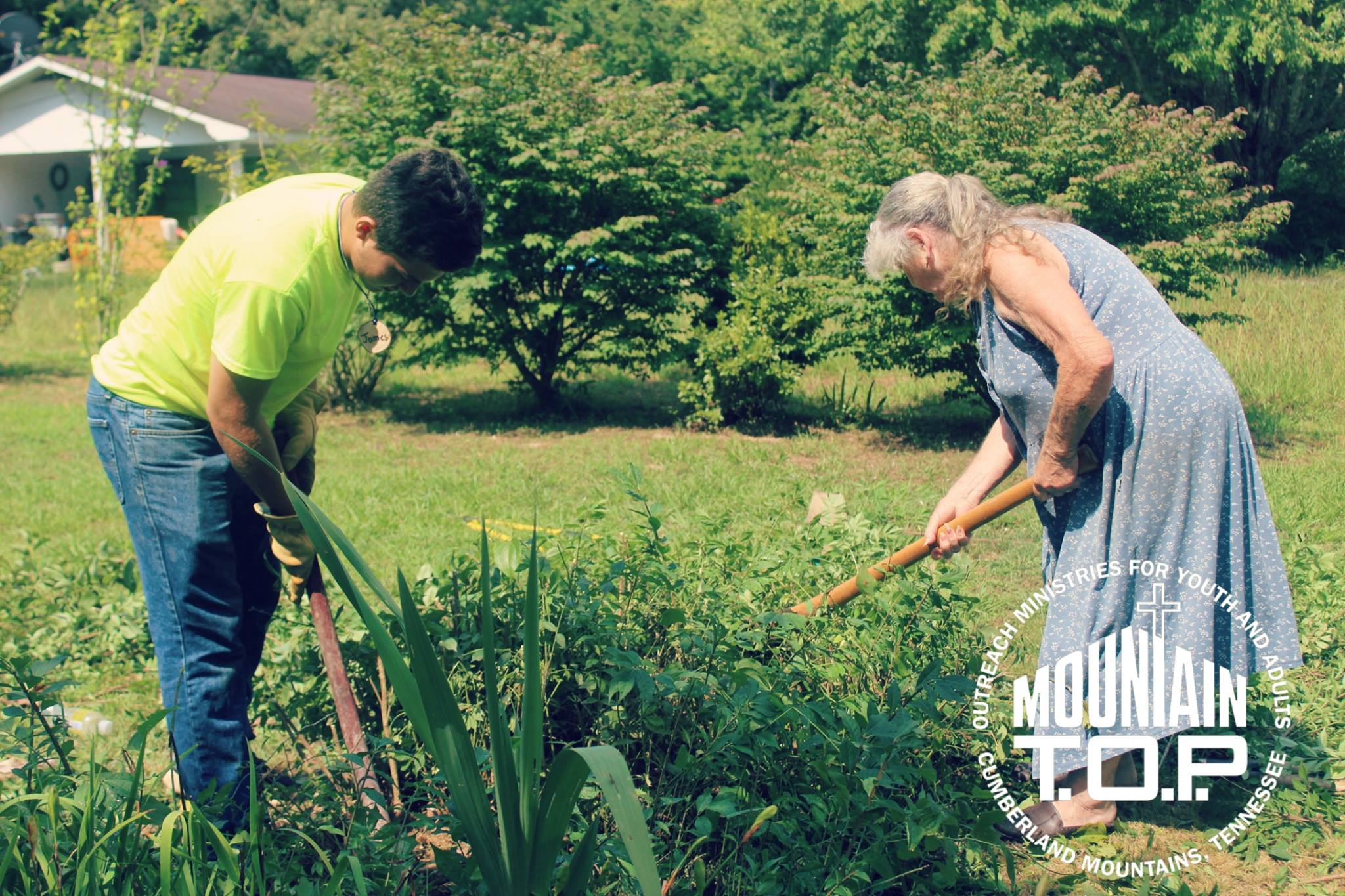 Mountain Top project - two people working in a garden