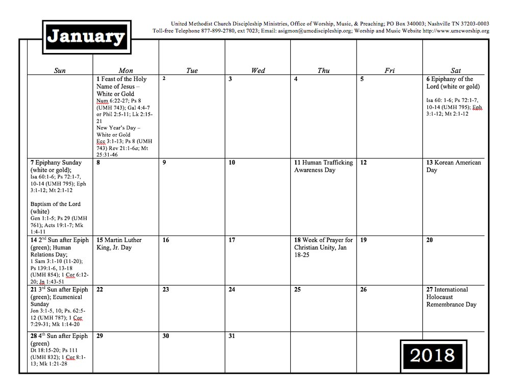 2018 worship and music planning calendar