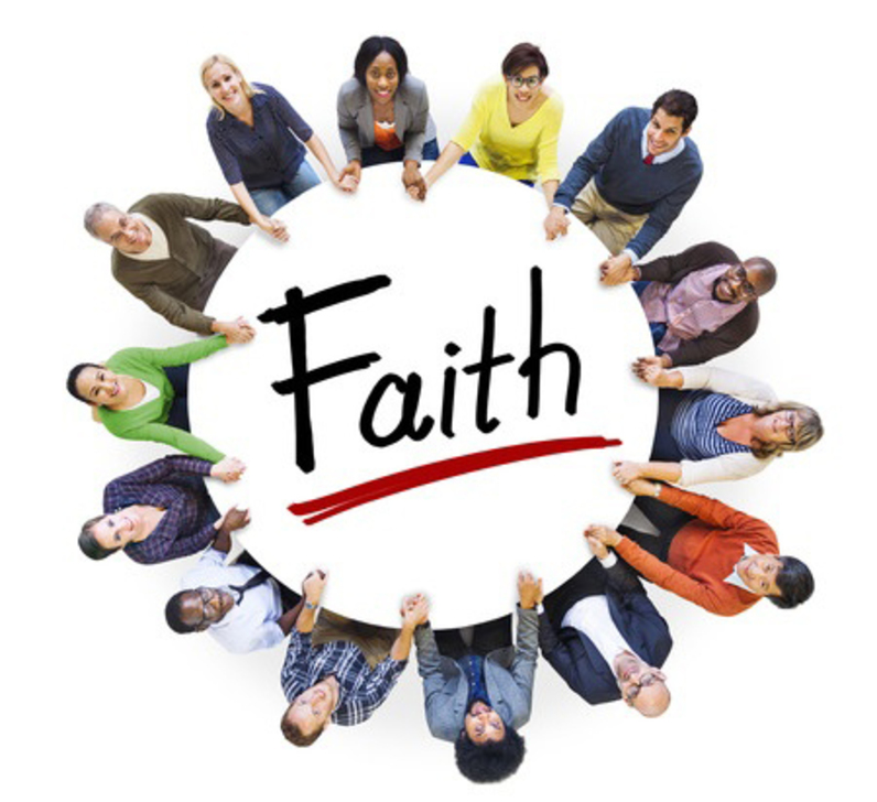 Circle of people around the word Faith