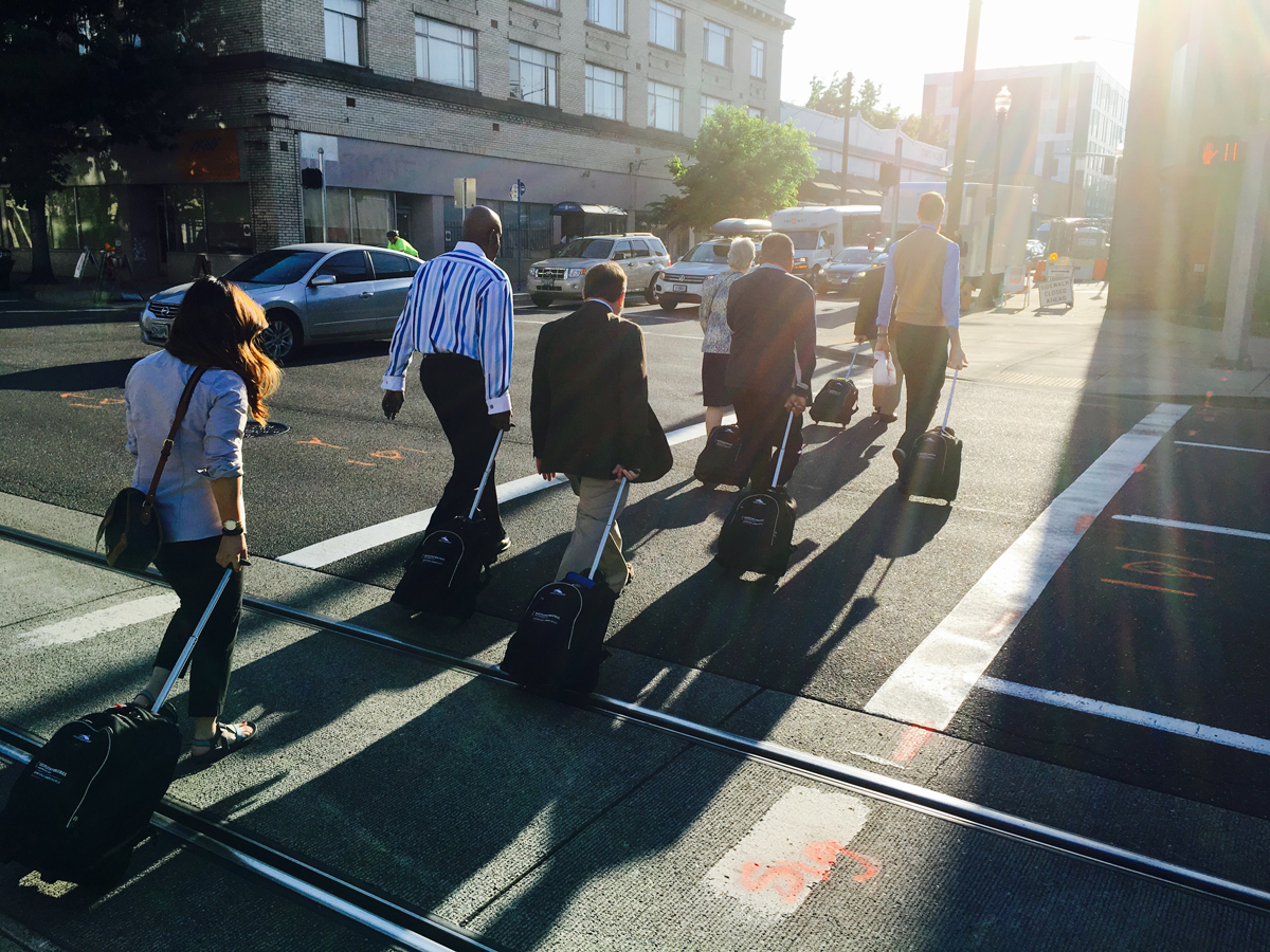 Staff walking to UMCGC through Portland, Oregon