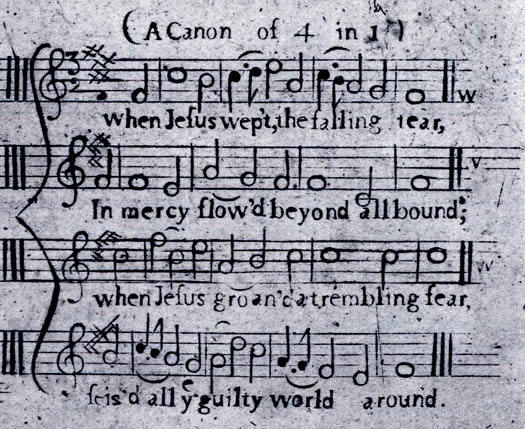 "Image of the original score of ""When Jesus Wept"" as it appeared in The New-England Psalm-Singer (1770)"