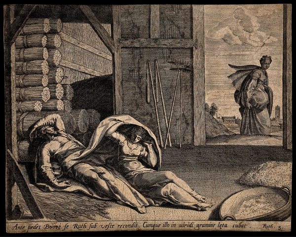 Ruth takes shelter under the cloak of Boaz and lies with him in the fresh grass