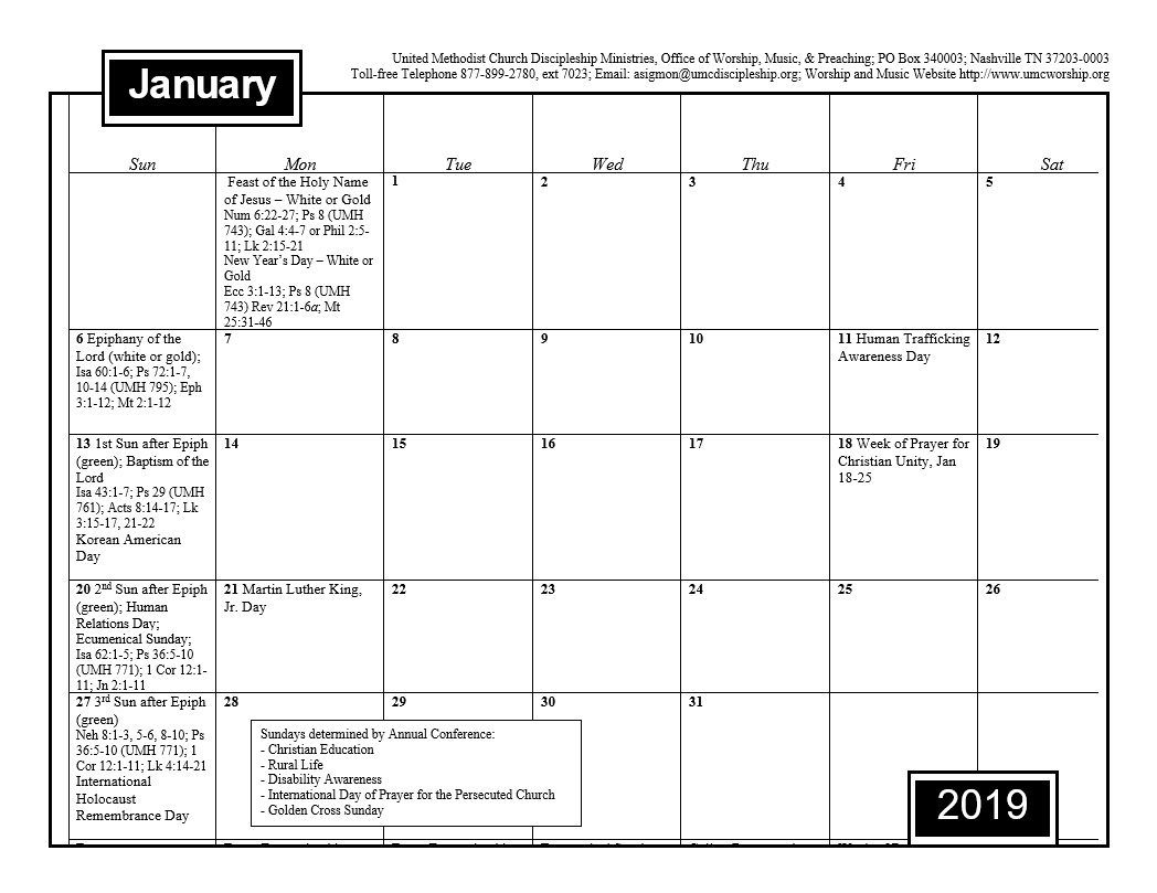 Special Calendar Days 2019 2019 Worship and Music Planning Calendar   Discipleship Ministries