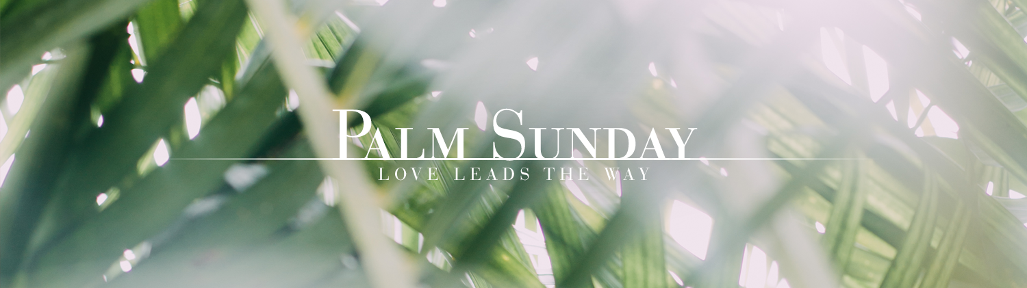 Passion/Palm Sunday: Love Leads the Way over an image of palm leaves
