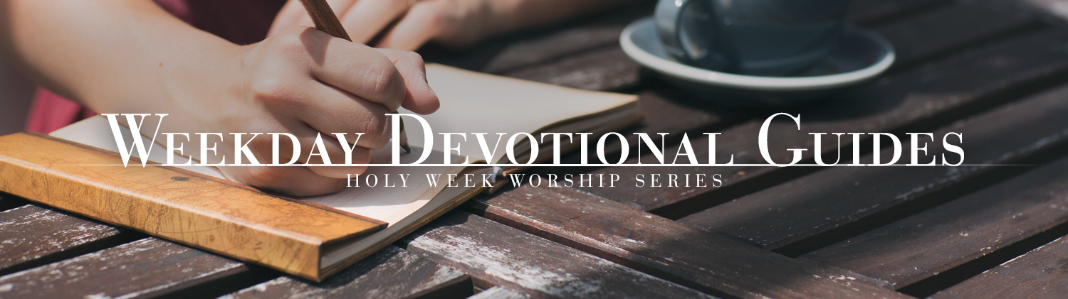 Weekday Devotional Guides - Love Leads the Way Series over photo of hand writing in a journal