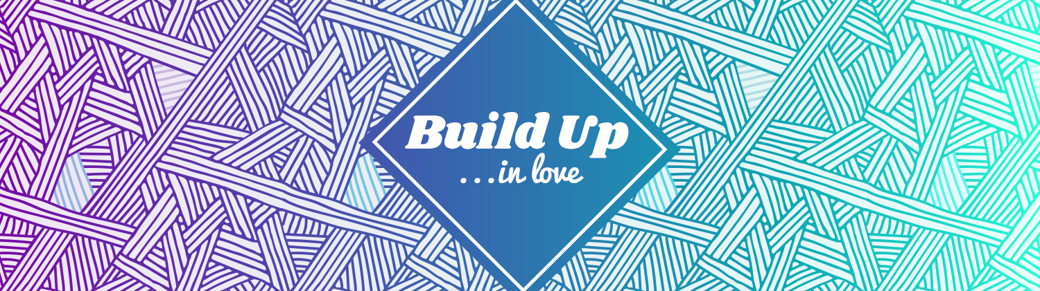 Build Up In Love text over a blue diamond shape laid over a background gradient pattern of lines that go from purple on the left to turquoise on the right
