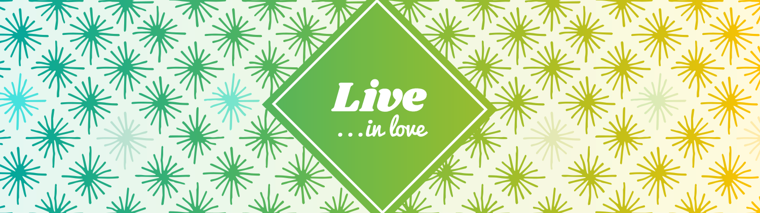 Live In Love text over a green diamond shape laid over a background gradient pattern of lines that go from green on the left to gold on the right
