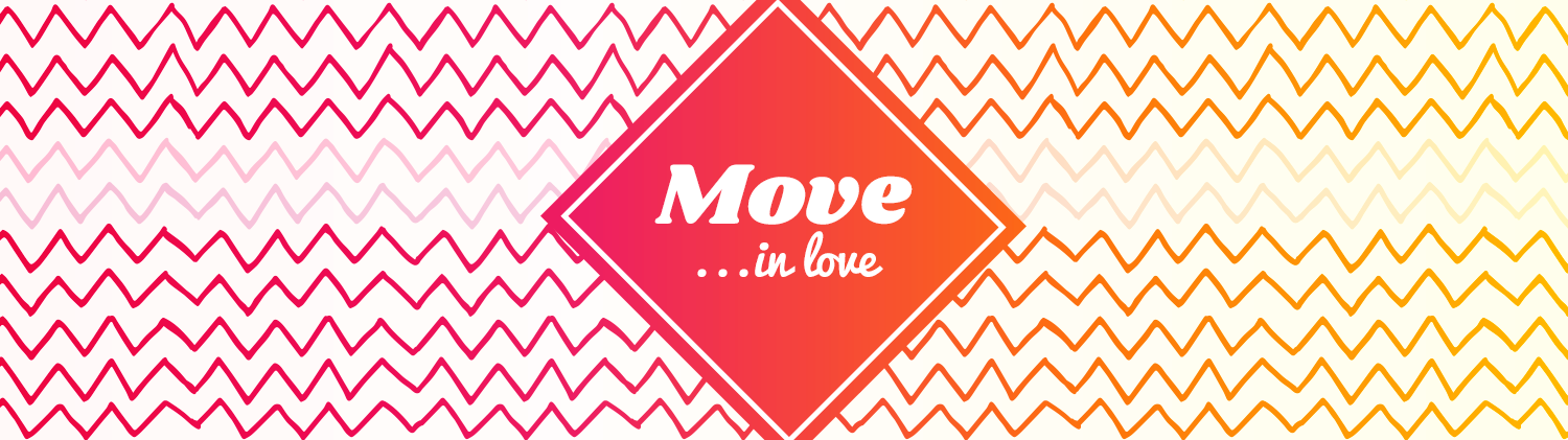 Move In Love text over a pink/orange diamond shape laid over a background gradient pattern of chevrons that go from pink on the left to orange on the right