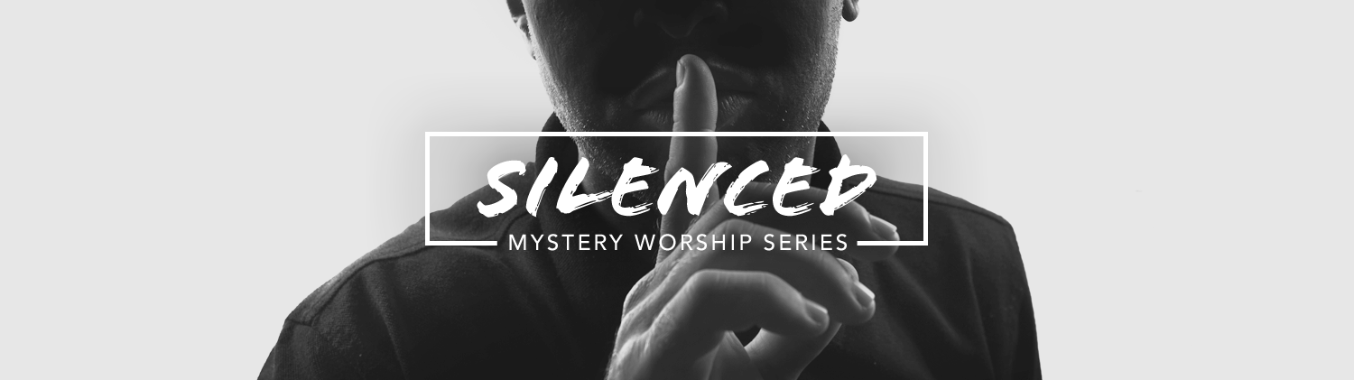 Mystery: SILENCE worship series text over black and white photo man putting a finger in front of his lips in hushing motion